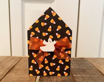 Halloween Chunky House for Tiered Tray - Halloween Ghost House Decoration - Decoupaged Candy Corn House - Tiered Tray Decor - Fall Decor