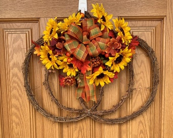 Fall Grapevine Pumpkin Wreath with Sunflowers - Fall Sunflower Pumpkin Door Hanger - Handmade Sunflower Wreath - Grapevine Pumpkin