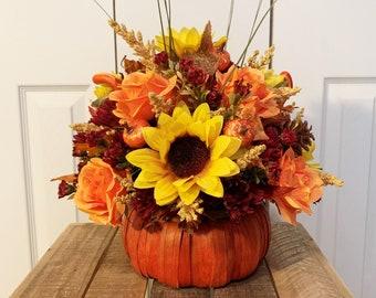 Artificial Fall Floral Arrangement in Pumpkin Container - Sunflowers in a Pumpkin Decoration - Pumpkin Decor - Fall Decorations