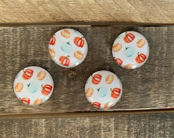 Farmhouse Pumpkin Magnets - Fall Magnets - Small Gift - Stocking Stuffer - Strong Fancy Magnets - Rare Earth