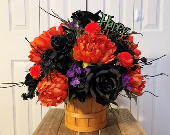 Happy Halloween Artificial Floral Centerpiece - Halloween Table Centerpiece with Orange and Black Flowers - Happy Halloween Decoration