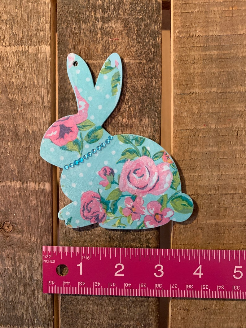 Easter Tree Easter Bunny Gift Tag Easter Tag Bunny Ornament Pink Floral Bunny Blue Bunny with Bling Hand Painted Rabbit Ornament