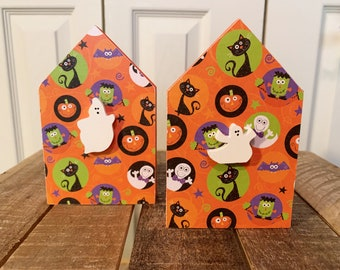 Chunky Wood Halloween Ghost House for Tiered Tray - Tiered Tray Halloween Decor - Decoupaged Halloween House with Ghost - Halloween Decor