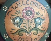 Vintage Painted German Welcome Folk Art Rose Mauling Sign Painted Welcome Sign Scandinavian Art Wall Sign Hand Painted Welcome Sign