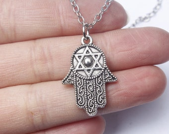 Silver Hamsa Hand Necklace|Hamsa Hand Necklace|Hand of Fatima Hand Necklace|Silver Hand Necklace|Initial Necklace|Gift for Her