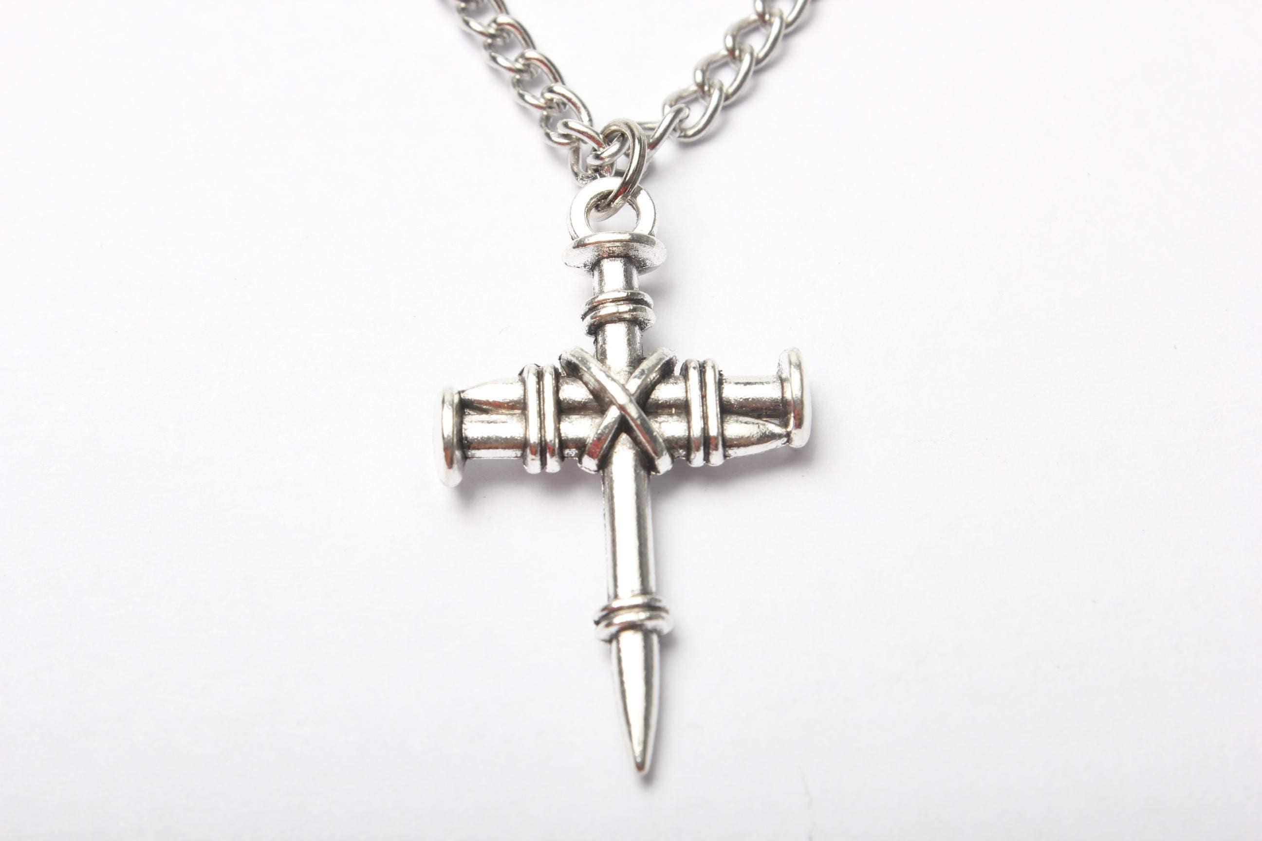 Silver Cross Necklace Medium Simple Cross Pendant ...