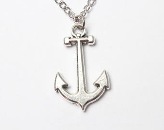 anchor necklace, nautical jewelry, sea necklace, beach jewelry, silver anchor necklace, anchor necklace jewelry, anchor pendant, rudder