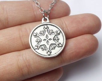 Silver and White Snowflake Pendant Necklace Snowflake Necklace  Snowflake Pendant Large Silver Snowflake Christmas Charm