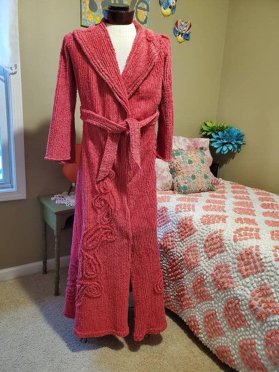 Vintage Terrycord Chenille Robe, 1950s Rose Red /