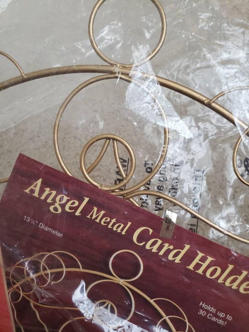 Vintage 80s Angel Metal Christmas Card Holder Vintage Christmas New old Stock in Original Packaging