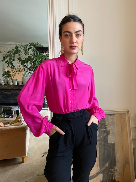 1970s Lanvin hot pink silk blouse, thin pussy bow