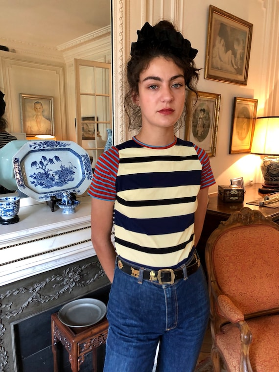 1990s Jean Paul Gaultier Jeans striped mesh top, s