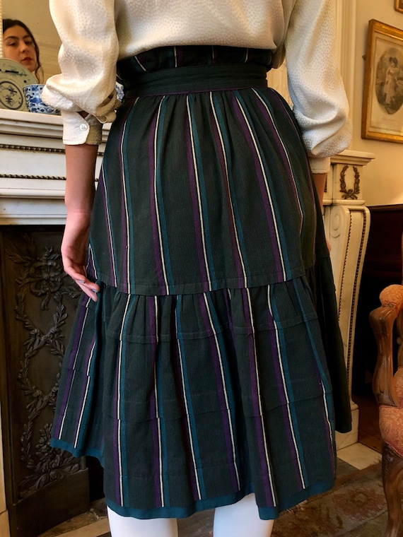 1970s Kenzo striped heavy cotton tiered skirt / e… - image 8