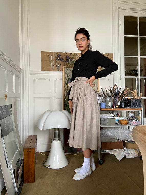 1970s Kenzo beige flannel wrap on midi skirt / sm… - image 2