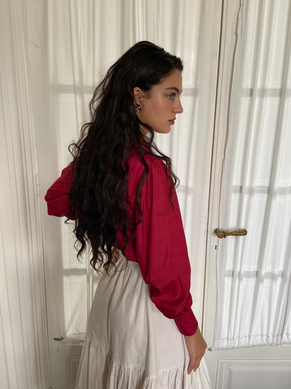 1970s Kenzo raspberry red silk blouse, peter pan … - image 3