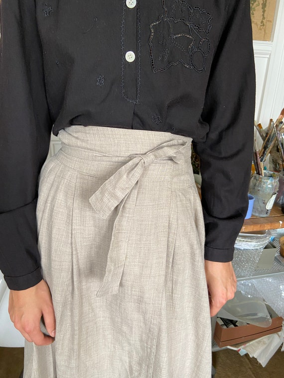 1970s Kenzo beige flannel wrap on midi skirt / sm… - image 7