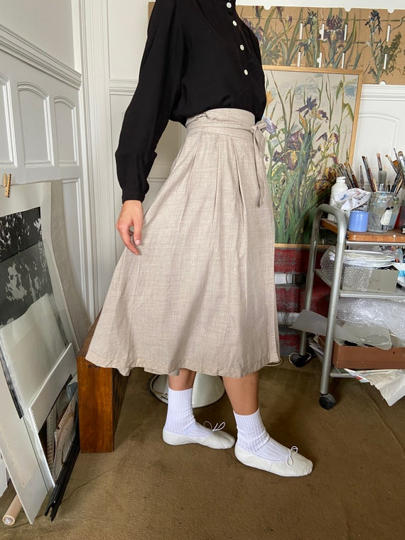 1970s Kenzo beige flannel wrap on midi skirt / sm… - image 6