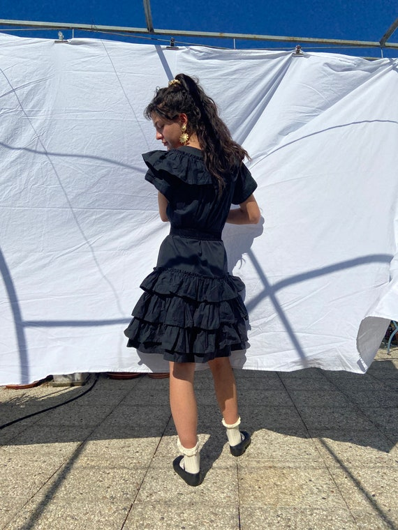 1970s Kenzo black ruffled midi dress, huge collar… - image 6