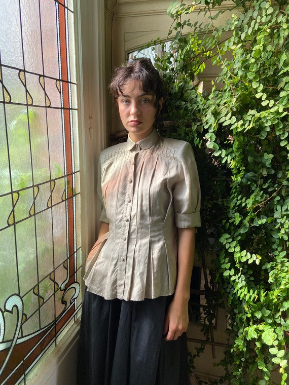 1970s Emmanuelle Khanh pleated blouse, short puffy