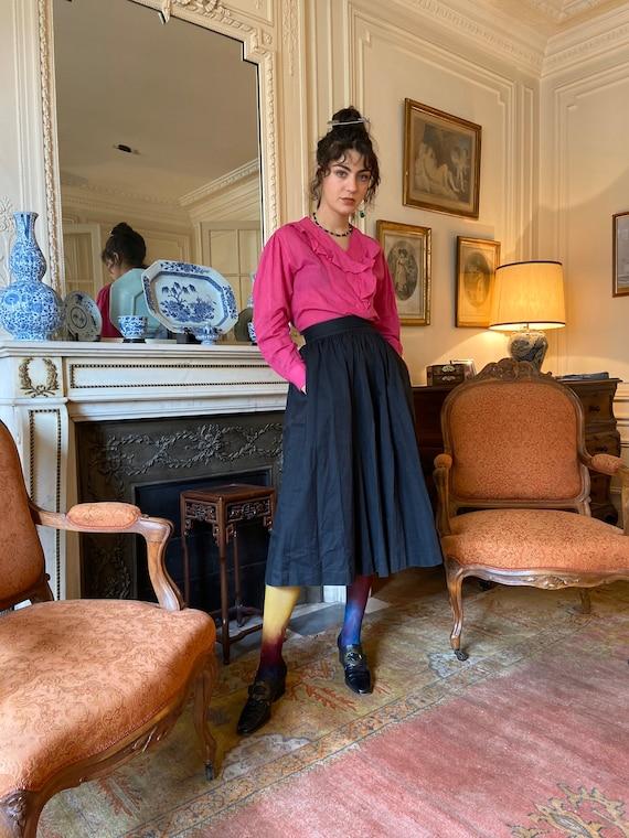 1970s Kenzo hot pink ruffled collar blouse, long … - image 5