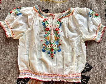 1930s 1940s hungarian blouse cream see through cotton, colorful floral handmade embroideries / small