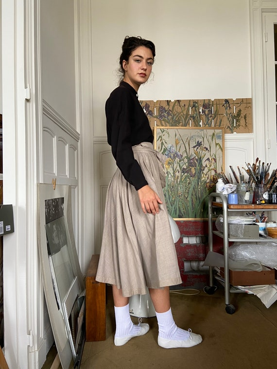1970s Kenzo beige flannel wrap on midi skirt / sm… - image 4
