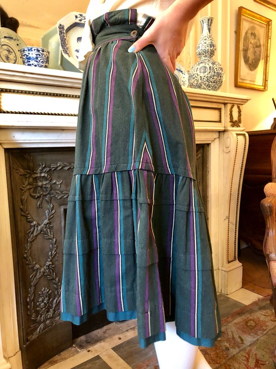 1970s Kenzo striped heavy cotton tiered skirt / e… - image 7