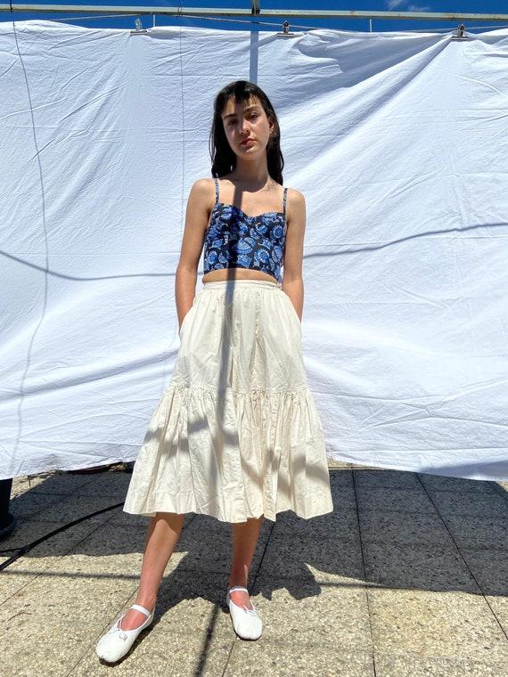 1980s Souleiado blue provençal cotton bustier / x… - image 6