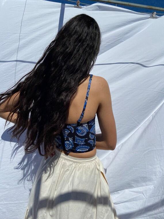 1980s Souleiado blue provençal cotton bustier / x… - image 4