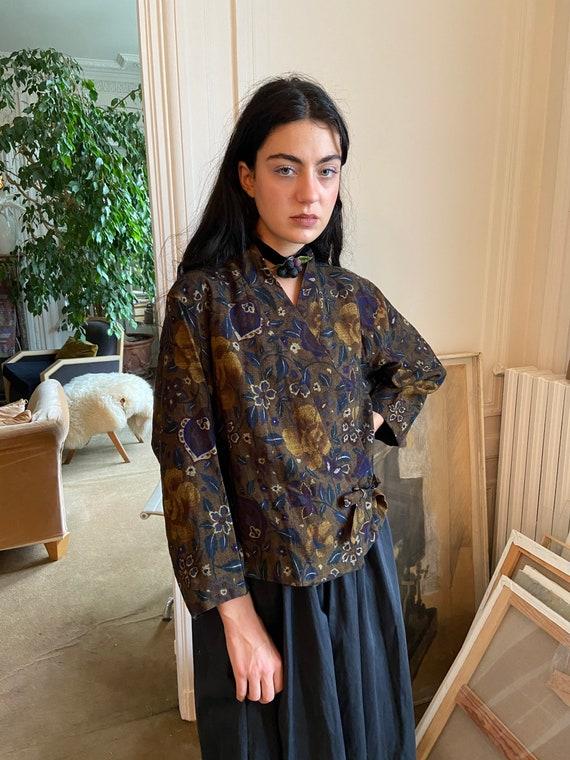1970s Kenzo wool floral wrap on blouse, asymmetri… - image 1