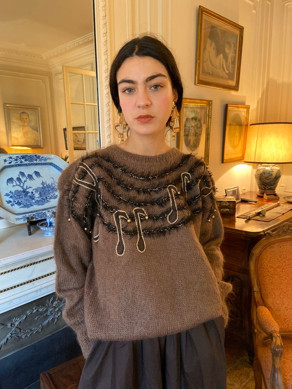 1980s musical notes brown mohair sweater, long sle