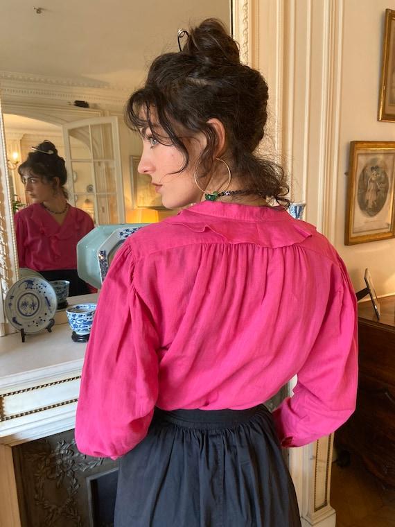 1970s Kenzo hot pink ruffled collar blouse, long … - image 4