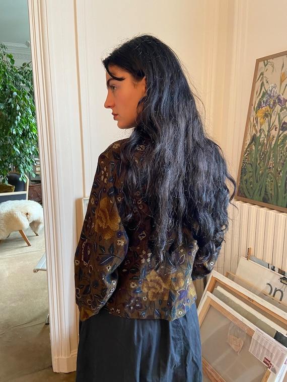 1970s Kenzo wool floral wrap on blouse, asymmetri… - image 4