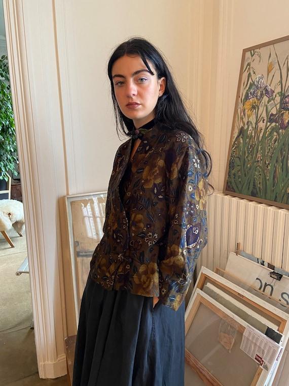 1970s Kenzo wool floral wrap on blouse, asymmetri… - image 2