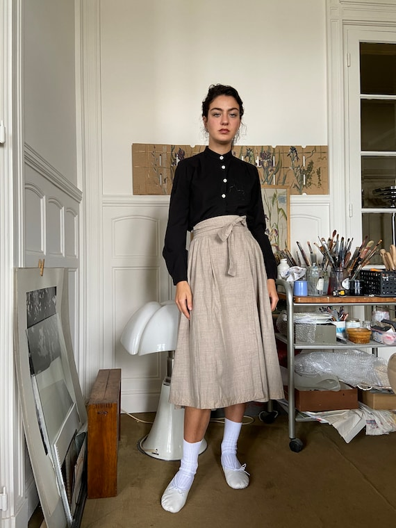 1970s Kenzo beige flannel wrap on midi skirt / sma