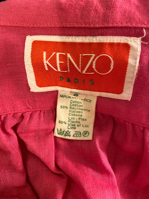 1970s Kenzo hot pink ruffled collar blouse, long … - image 7