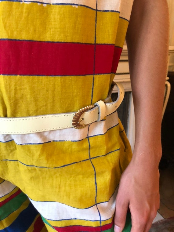 large 1980s cream leather belt with attached studded pouch gold tone metal buckle  medium