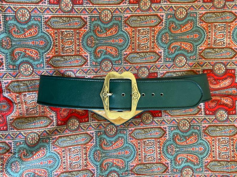 dark green leather /& yellow canvas engraved metal buckle 1980s austrian trachten heart belt