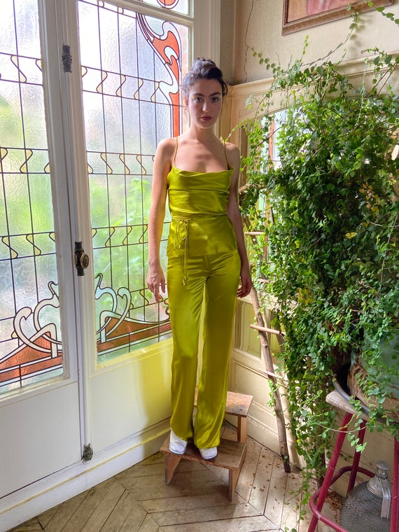 1990s Plein Sud chartreuse satin two piece, spaghe