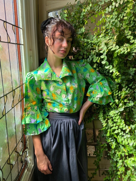 1980s Yves Saint Laurent Rive Gauche bright green