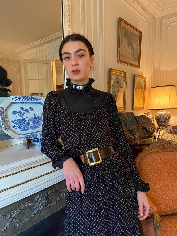 1980s ruffled high collar & cuffs black midi dress