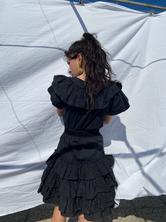 1970s Kenzo black ruffled midi dress, huge collar… - image 8