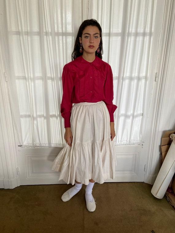 1970s Kenzo raspberry red silk blouse, peter pan … - image 6