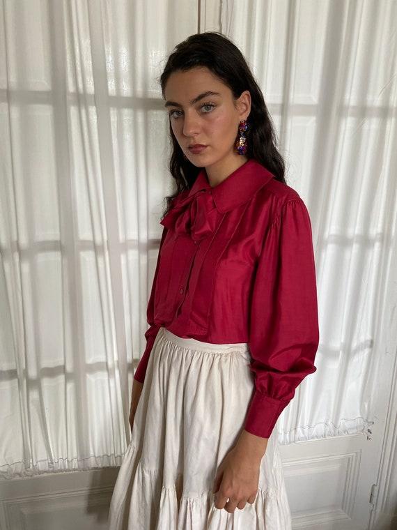 1970s Kenzo raspberry red silk blouse, peter pan … - image 2