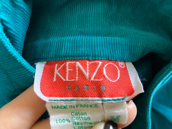 1970s Kenzo green corduroy dress, pleated front, … - image 8