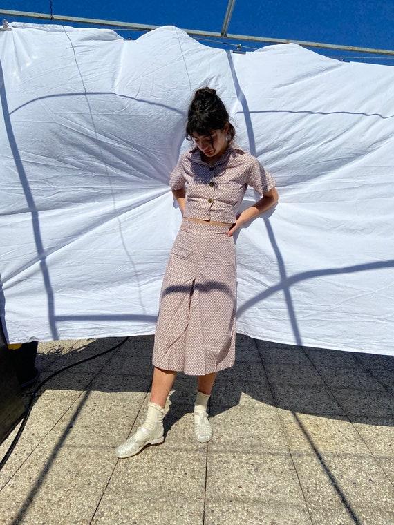 1930s deco beach pajama set, blouse and culottes,