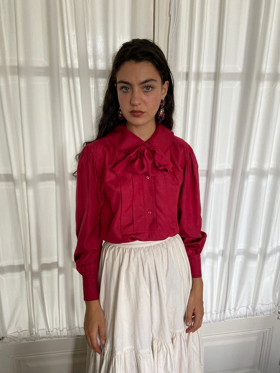 1970s Kenzo raspberry red silk blouse, peter pan c