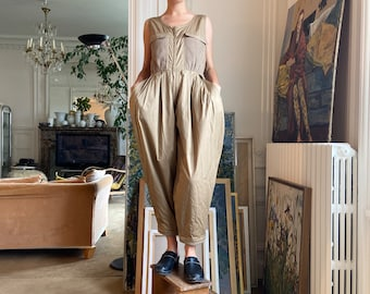 1980s Callaghan by Gianni Versace jumpsuit, light khaki, wide leg / small