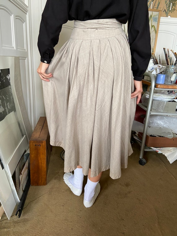 1970s Kenzo beige flannel wrap on midi skirt / sm… - image 8