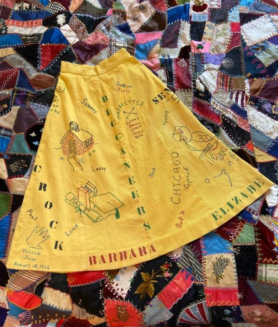 1956 RARE senior cords skirt, yellow corduroy midi